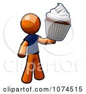 Clipart Orange Man Holding A Cupcake Royalty Free Illustration