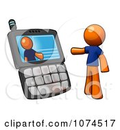Clipart 3d Orange Man Video Chatting On A Cell Phone Royalty Free Illustration