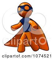 Clipart Orange Man Super Hero With A Cape Royalty Free Illustration