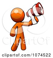 Clipart Orange Man Using A Megaphone Royalty Free Illustration
