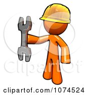 Clipart Orange Man Worker Holding A Wrench Royalty Free Illustration