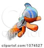 Clipart Orange Man Rocketeer With A Jetpack 4 Royalty Free Illustration