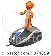 Clipart 3d Orange Man Standing On A Computer Mouse Royalty Free Illustration