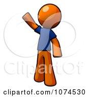 Clipart Orange Man Waving In A Blue Shirt Royalty Free Illustration