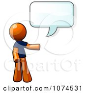 Clipart Orange Man Talking With A Speech Balloon Royalty Free Illustration
