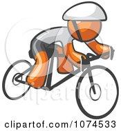 Clipart Orange Man Cyclist Royalty Free Illustration