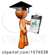 Orange Man Graduate Holding A Chart On A Clipboard