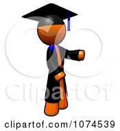 Clipart Orange Man Graduate Presenting Royalty Free Illustration by Leo Blanchette