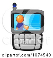 Clipart Orange Man On A Cell Phone Display Royalty Free Illustration