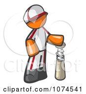 Clipart Orange Man Baseball Player With A Bat Royalty Free Vector Illustration