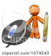 Clipart 3d Orange Man Holding A Pencil By A Computer Mouse Royalty Free Illustration