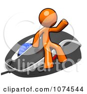 Clipart 3d Orange Man Waving On A Computer Mouse Royalty Free Illustration