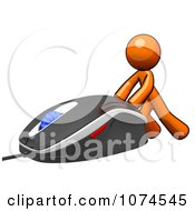Clipart 3d Orange Man Pushing A Computer Mouse 1 Royalty Free Illustration
