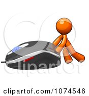 Clipart 3d Orange Man Pushing A Computer Mouse 2 Royalty Free Illustration
