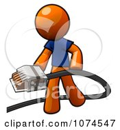 Clipart Orange Man Holding A Telephone Cable Royalty Free Illustration by Leo Blanchette