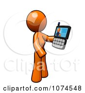 Clipart Orange Woman Video Chatting On A Cell Phone Royalty Free Illustration