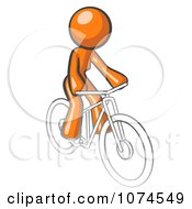 Clipart Orange Woman Riding A Bicycle Royalty Free Vector Illustration