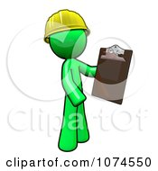 Lime Green Man Builder Holding A Clipboard