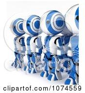 Clipart Line Of 3d Blue Ao Maru Robots Royalty Free CGI Illustration