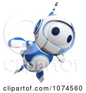 Clipart Cute 3d Blueberry Robot Flying Royalty Free CGI Illustration by Leo Blanchette