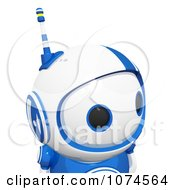 Cute 3d Blueberry Robot Looking Right