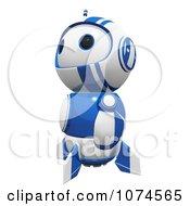 Cute 3d Blueberry Robot Looking Upwards