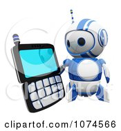 Clipart Cute 3d Blueberry Robot Holding A PDA Royalty Free CGI Illustration