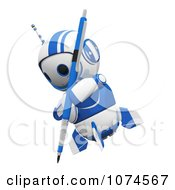 Clipart Cute 3d Blueberry Robot Using A Pencil Royalty Free CGI Illustration by Leo Blanchette