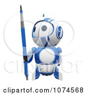 Clipart Cute 3d Blueberry Robot Holding A Pencil Royalty Free CGI Illustration by Leo Blanchette