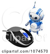 Clipart Cute 3d Blueberry Robot By A Computer Mouse Royalty Free CGI Illustration by Leo Blanchette
