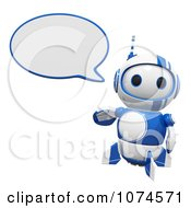 Clipart Cute 3d Blueberry Robot Talking Royalty Free CGI Illustration by Leo Blanchette