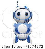 Clipart Cute 3d Blueberry Robot Facing Front Royalty Free CGI Illustration