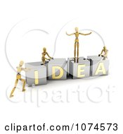 Clipart 3d Mannequins Pushing IDEA Puzzle Blocks Together Royalty Free CGI Illustration
