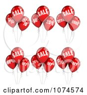 3d Red Sales Party Balloon Design Elements