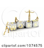 Clipart 3d Mannequins Pushing TEAMWORK Puzzle Blocks Together Royalty Free CGI Illustration by stockillustrations