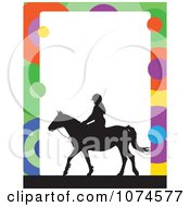 Clipart Silhouetted Horse And Equestrian With A Colorful Circle Frame And White Copyspace Royalty Free Vector Illustration by Maria Bell