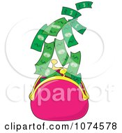 Clipart Cash Flying Out Of A Pink Money Purse - Royalty Free Vector Illustration by Maria Bell