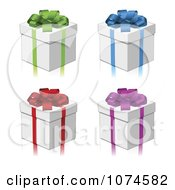 Clipart 3d Gift Boxes With Colorful Bows And Ribbons Royalty Free Vector Illustration