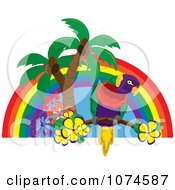 Clipart Tropical Parrot With Palm Trees And Hibiscus Flowers Under A Rainbow 2 Royalty Free Vector Illustration