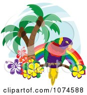 Clipart Tropical Parrot With Palm Trees And Hibiscus Flowers Under A Rainbow 3 Royalty Free Vector Illustration by Pams Clipart