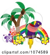 Clipart Tropical Parrot With Palm Trees And Hibiscus Flowers Under A Rainbow 1 Royalty Free Vector Illustration by Pams Clipart