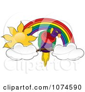 Clipart Parrot With Clouds Under A Sunny Rainbow Arch 2 Royalty Free Vector Illustration