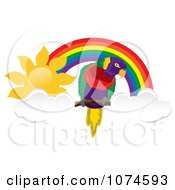 Parrot With Clouds Under A Sunny Rainbow Arch 1