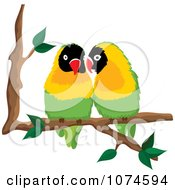 Two Love Birds Perched On A Branch 1