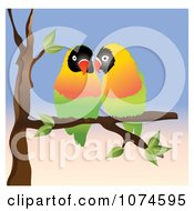 Two Love Birds Perched On A Branch 2