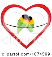 Two Love Birds Cuddling On A Wire In A Heart