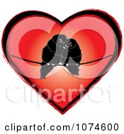 Two Love Birds Cuddling On A Wire In A Red Heart
