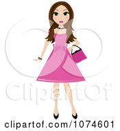 Brunette Teen Girl In A Pink Dress
