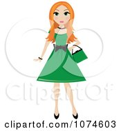 Red Haired Teen Girl In A Green Dress