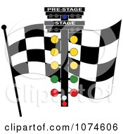 Clipart Checkered Race Flag And Track Lights Royalty Free Vector Illustration